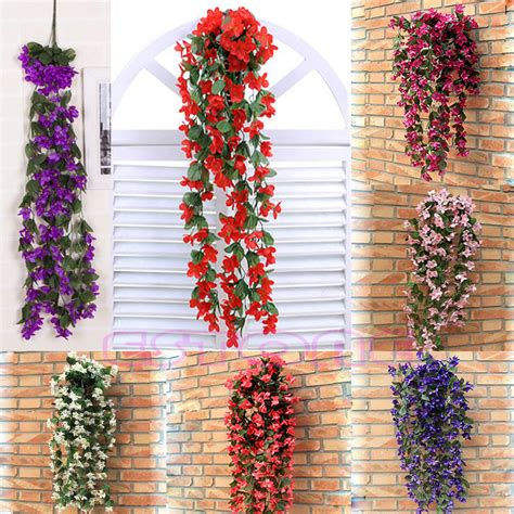 Bunga Artificial Dinding Teralis Tralis Artificial Flower Wall Aa3 artificial violet hanging garland hanging vine