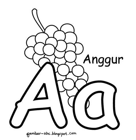 Aku Bisa Menghafal Huruf Abc mewarnai huruf quot a quot gambar buah anggur contoh gambar mewarnai