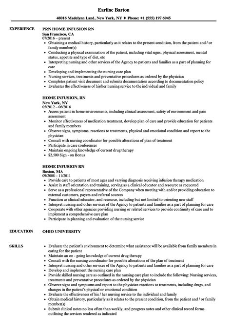 Home Infusion Sle Resume by Home Infusion Rn Resume Sles Velvet