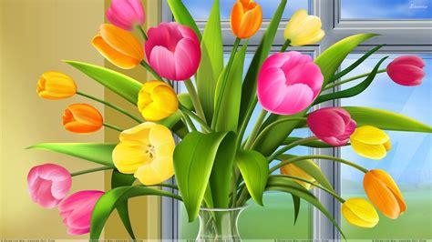 colorful tulips in vase wallpaper