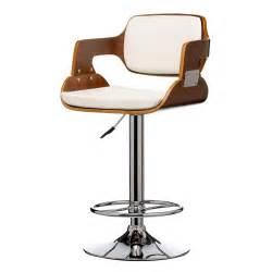 Buy walnut wood and white faux leather retro bar stool bar stools