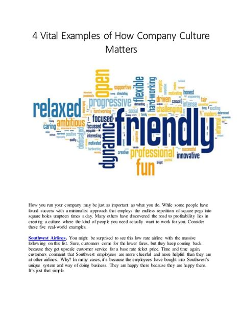4 Vital Exles Of How Company Culture Matters Company Culture Template