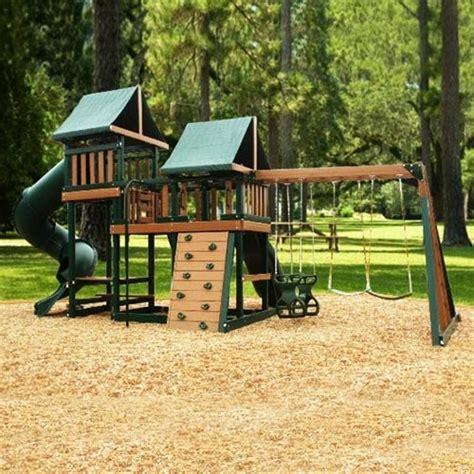kidwise green monkey play set iii wood swing set