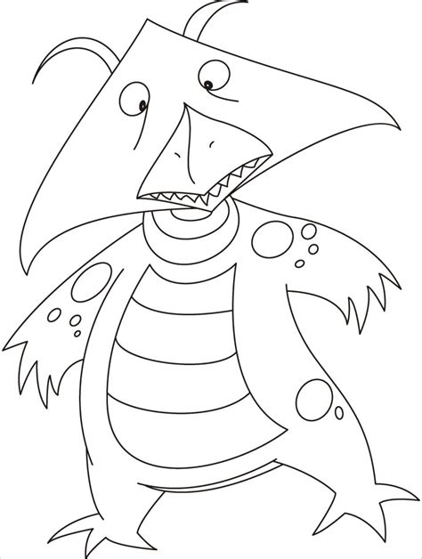 a kite face monster flying high in the sky coloring pages