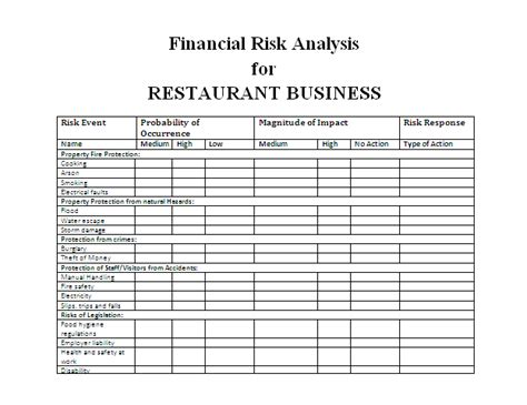 Printable Forms Part 6 Financial Statement Risk Assessment Template