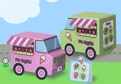 paper ice cream trucks toy kawaii pdf printable 0017