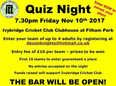 Fridays For November 10th by Quiz Friday 10th November Ivybridge Cricket Club