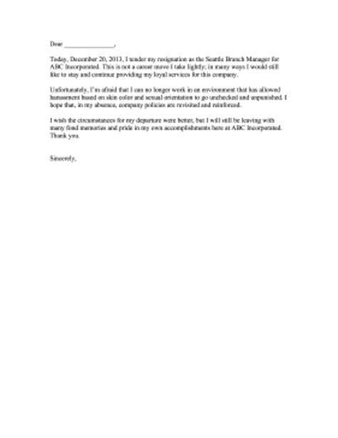 Resignation Letter Due To Workplace Bullying Resignation Letter With Complaint