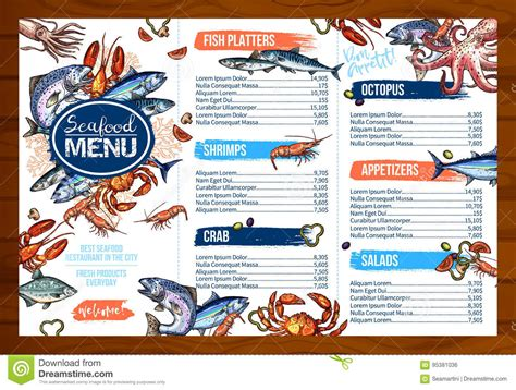 vector menu for seafood or fish seafood restaurant stock