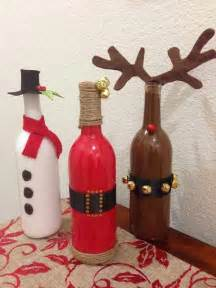 Spray paint wine bottles and dress them up as snowman santa and