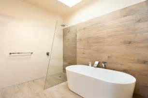 Timber Floor Bathroom - ceramic timber tiles bathroom renovation in belmont