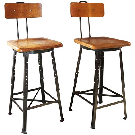 Stool Smells Like Iron by Pair Of Vintage Industrial Adjustable Wood And Metal