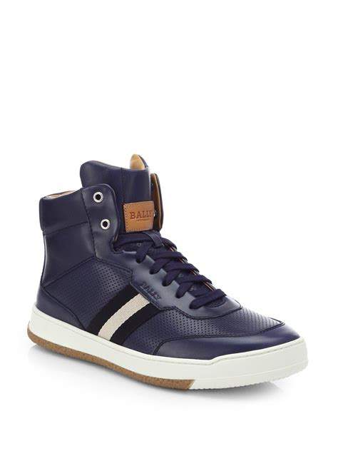 bally sneakers sale bally perforated leather hightop sneakers in blue for