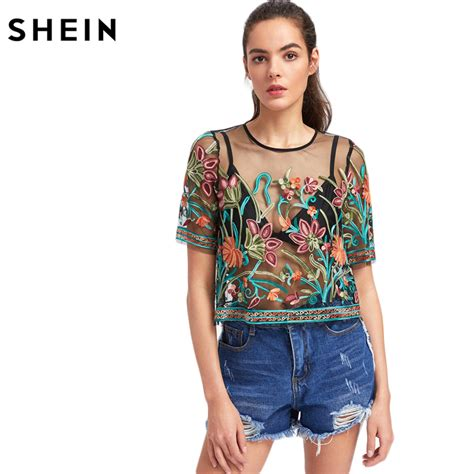 Express Embroidery Top 1 shein blouses for buttoned keyhole botanical embroidered mesh top summer multicolor