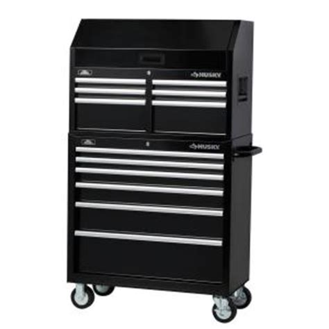 husky 36 in 12 drawer tool chest and cabinet set black