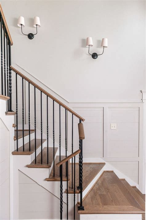 Banister Paint Ideas Staircase Sconces Transitional Entrance Foyer