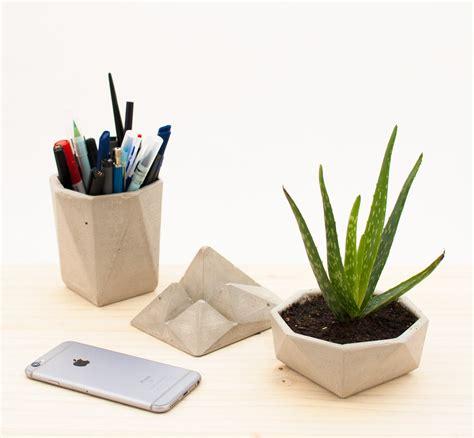 Modern Desk Sets Modern Concrete Desk Accessories Kit Crowdyhouse