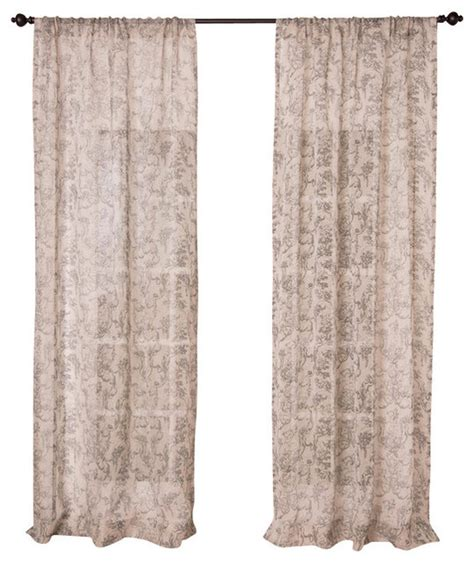 toile print curtains toile print natural sheer linen panel 96 quot traditional