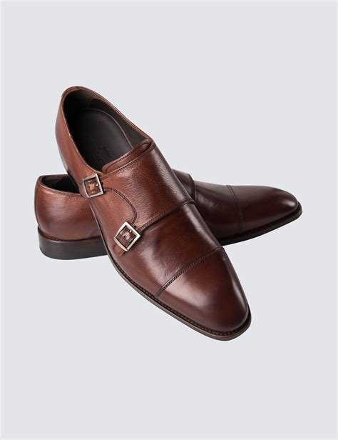 S Brown Leather Monk Shoe Hawes Curtis
