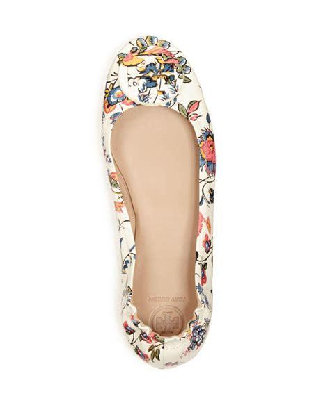 Minnie Flat White lyst burch minnie floral print travel ballet flat