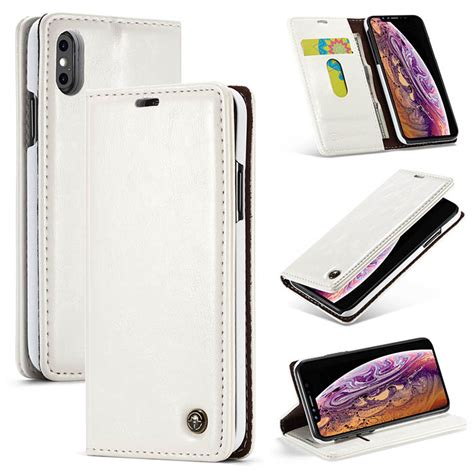 caseme iphone xs max wallet magnetic flip stand white