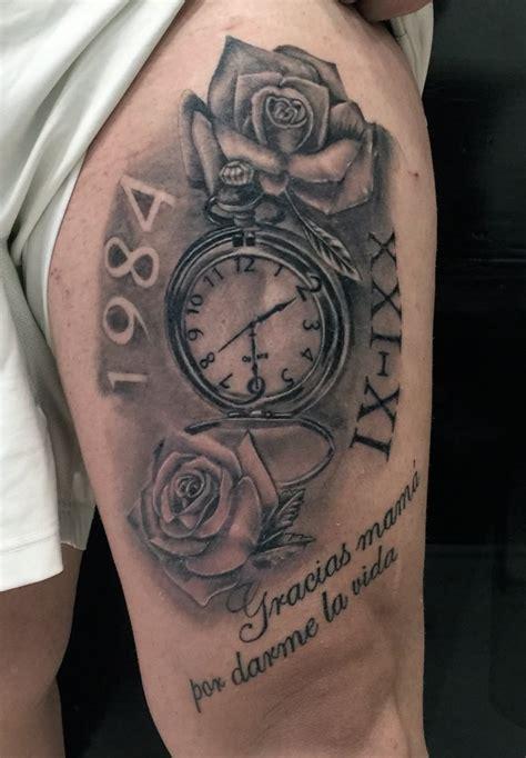 imagenes de tatuajes de relojes antiguos reloj con rosas y lettering tatuajes online