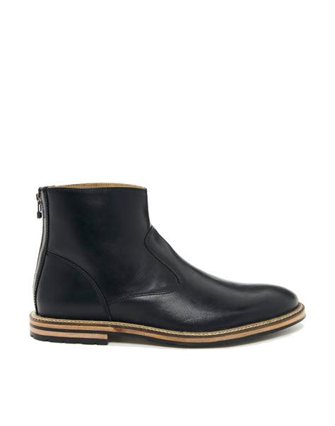 asos chelsea boots mens asos chelsea boots with back zip in black for lyst