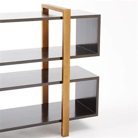 staggered bookshelves staggered low bookcase west elm