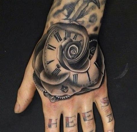 hand tattoos rose grey flower clock on left