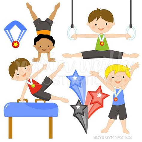 gymnastics clipart boys gymnastics digital clipart commercial use ok