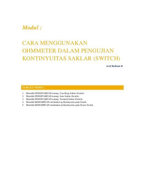 Saklar Ohm modul cara menggunakan ohm meter dalam pengujian