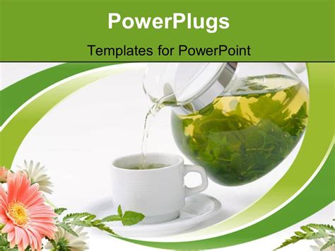powerpoint templates for kitchen tea powerpoint template cup with mint tea and teapot 20482