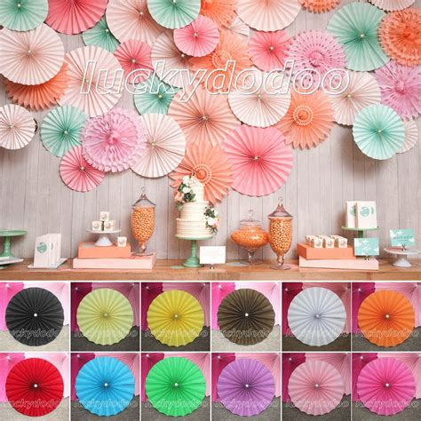 Paper Decorations To Make At Home - multicolor paper flower fan wedding birthday home