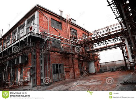 Green Roof by Abandoned Old Chemical Factory Building Stock Image