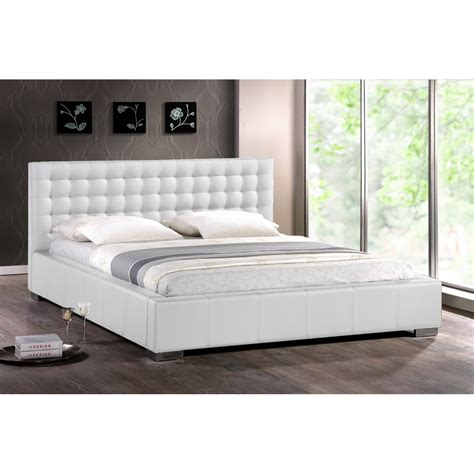 madison white modern bed with upholstered headboard king