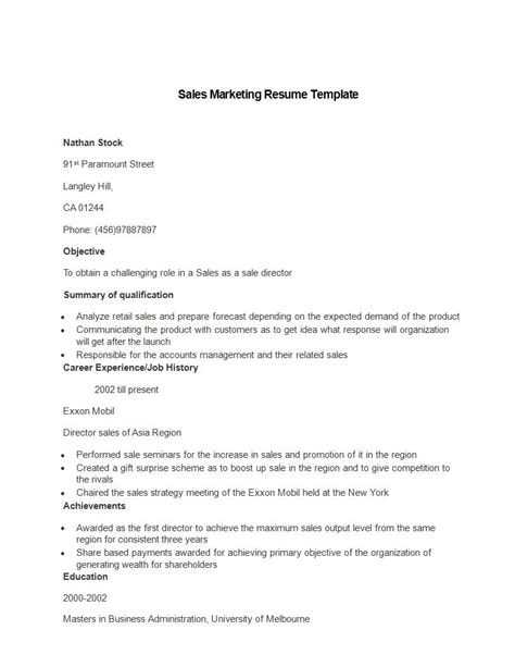 sle marketing cv template 21 marketing resume templates for every seeker