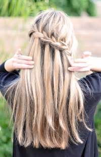 hair braid across back of french braid w cascading hair tutorial diy waterfall