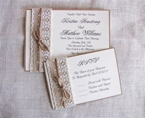 Handmade Invites Wedding - rustic lace wedding invitation burlap wedding invitation