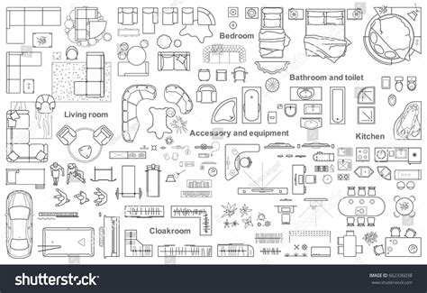 layout plan view set furniture top view apartments plan stock vector