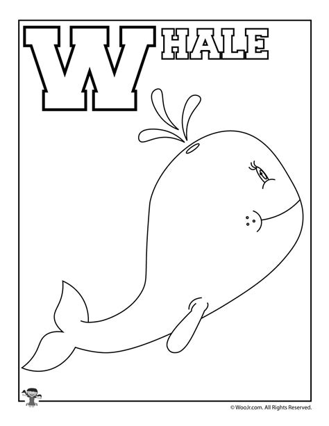 whole alphabet coloring page w is for whale woo jr kids activities