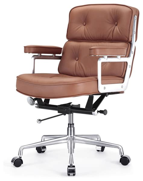 Office Chairs Brown Leather M340 Lobby Office Chair In Brown Leather Contemporary