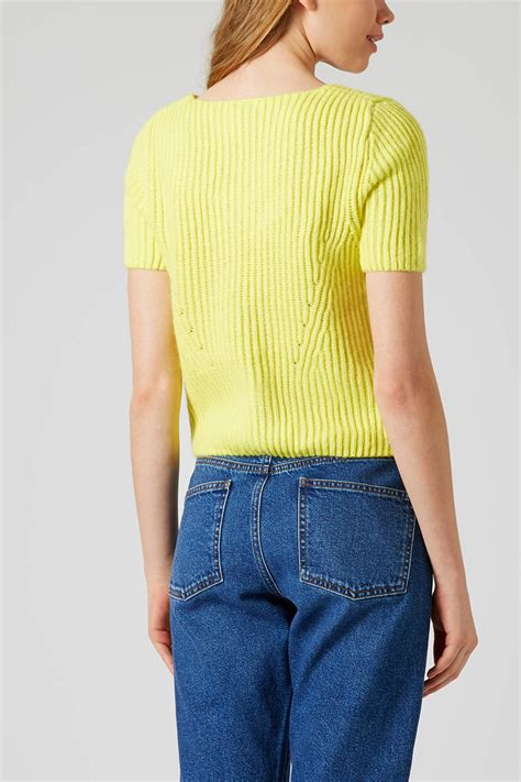 yellow knitted jumper topshop knitted sleeve jumper in yellow lyst