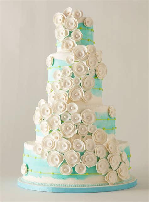 Blue Wedding Cake with White Flowers   Wedding Cakes Photos   Brides.com