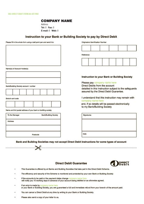 direct debit form free purchase order books templates purchase order books