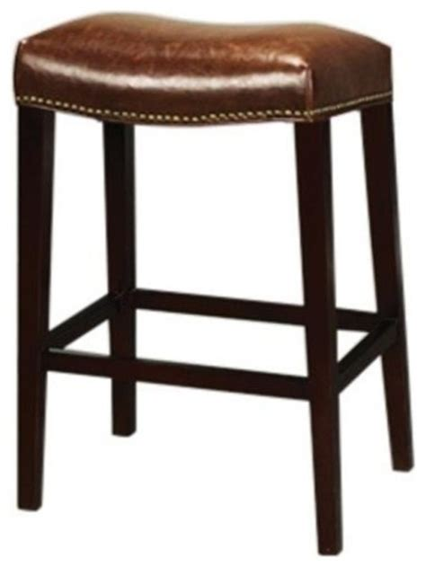 Leather Saddle Style Bar Stools by New Bar Stool Saddle Style Brown Leather Traditional