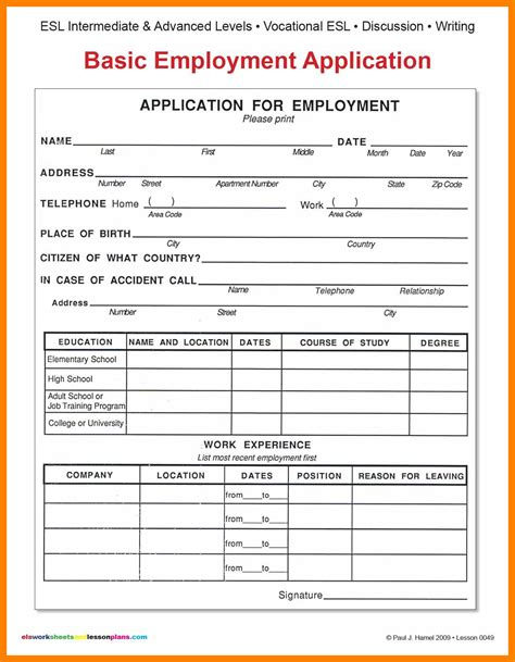 Mba Application Employment History Data Forms by 8 Basic Application Form Bike Friendly