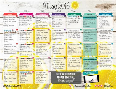 Blogilates Calendar May 2016 Blogilates Workout Calendar
