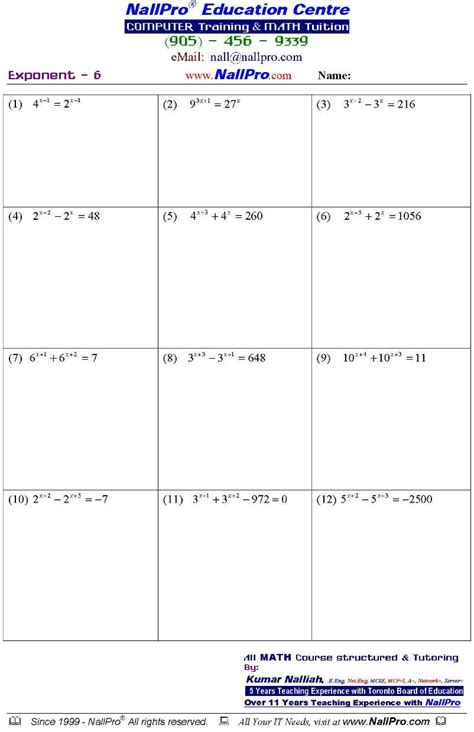 Math Worksheets 11th Grade by Work Sheet 3