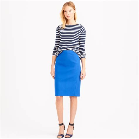 j crew no 2 pencil skirt in cotton twill in blue blue
