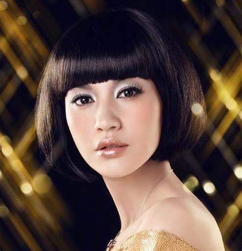 hairstyles china doll bangs short haircuts with bangs side swept choppy straight